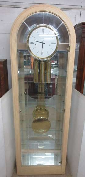 Howard Miller Eternity Curio Floor Clock, Model 610-684, Has Three Curved Glass Shelves