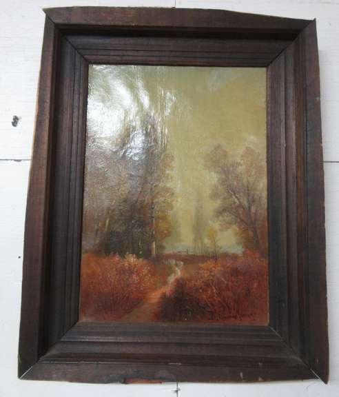 Old Oil Painting of Farm Animals on Path Through Woods and Meadow, Signed, Oil on Canvas