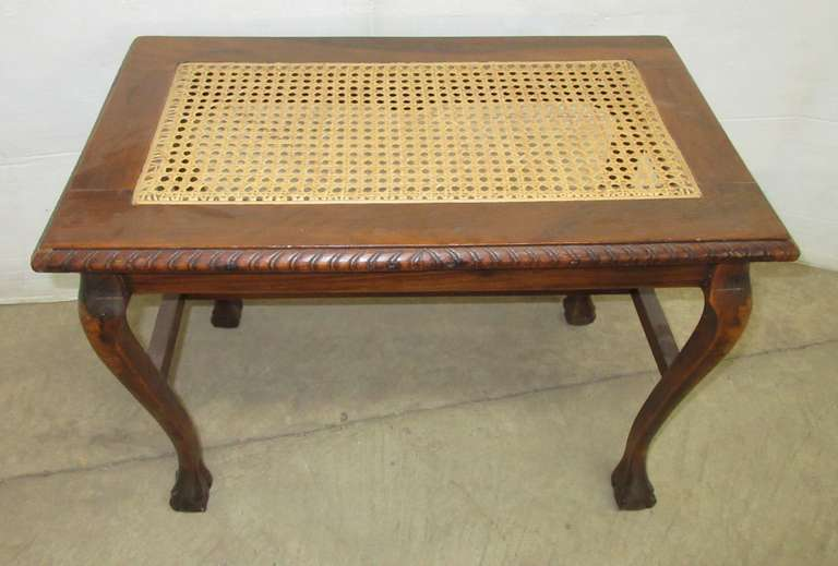 Antique Bench with Cane Top and Carved Claw Ball Feet