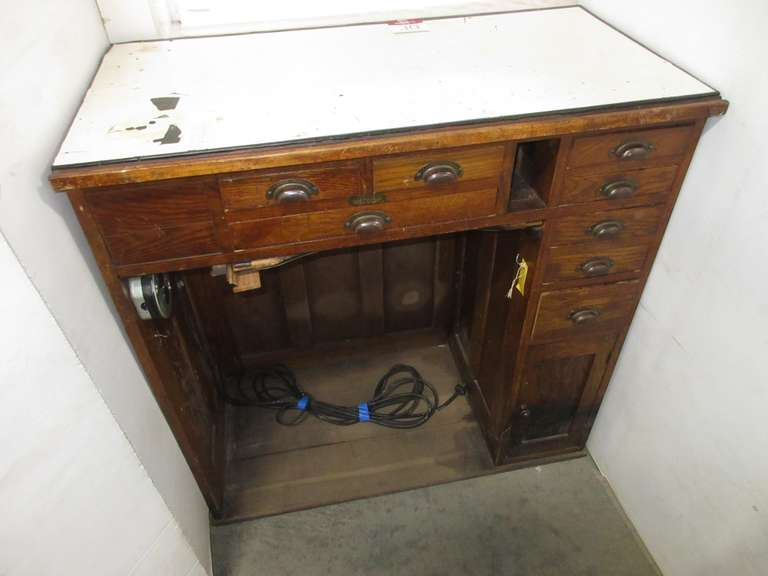 "Watchmakers/Jewelers Bench, Signed ""JH Rosberg Mfg. Co., Chicago"", Solid Oak, Has Eight Drawers, Cabinet Door, Electrical Cord, and Two-Plug Socket"
