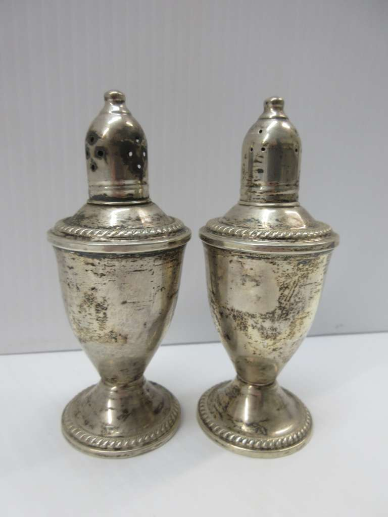 (2) Antique Sterling Silver Weighted Salt and Pepper Shakers