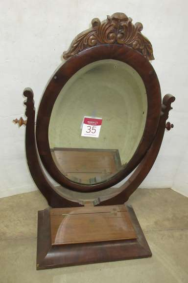 Antique Mahogany Dresser Top Mirror with Lift Top Dresser Box, Flame Grain Mahogany, Matches Lot No. 34