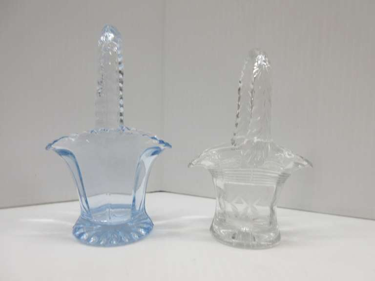 "(2) Glass ""Bride's Baskets"": 1- Small Clear and 1- Small Blue"