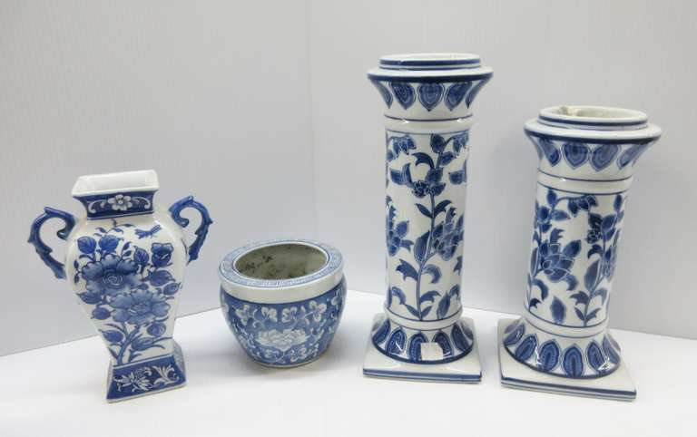 "(4) Blue/White Chinese Items, Include: 2- Pillars, Matching Patterns, 5"" x 5"" x 11"" and 13""H, Used to Give Height to Flower Pots or as Candle Holders; Vase, Square Design, 6""W x 9""H; Flower Pot, 5 1/2""W x 4""H"