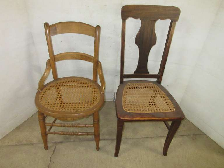 (2) Antique Cane Seat Chairs
