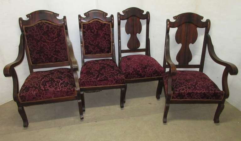 "(4) Antique Brazilian Walnut Chairs with Carving: 2- with Arms, 24""W x 30""D x 40""H; 2- Without Arms, 19 1/2""W x 24""D x 40""H, Matches Lot No. 49"
