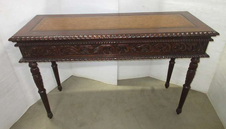 Couch or Library Table, Leather Inlaid, Carved Legs and Face