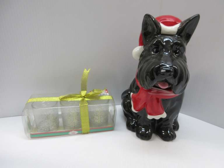 Christmas Scottie Cookie Jar with Three-Piece Glass Candle Holder Set