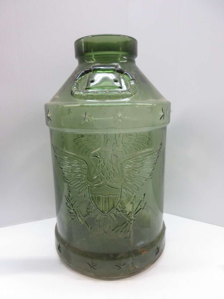 Large Green Jar with Eagle