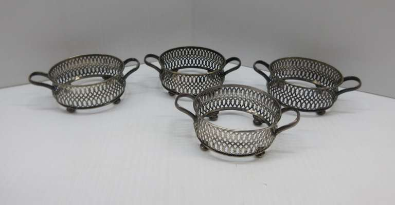 (4) Antique Sterling Silver Teacup Holders, 125.1g