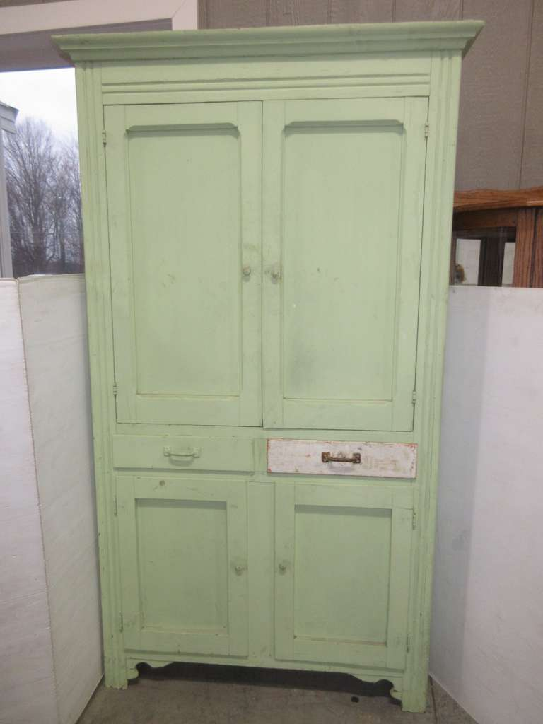 Old Painted Cabinet, Has Four Doors and Two Drawers