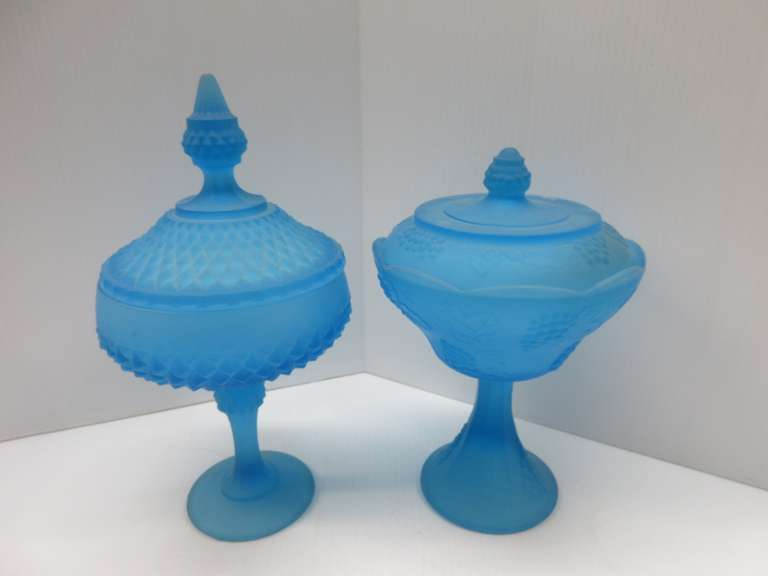 (2) Antique Light Blue Candy Dishes with Lids