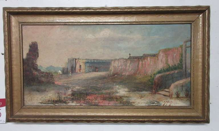 Old Pueblo Village Oil Painting, Artist CA Butts, Oil on Canvas