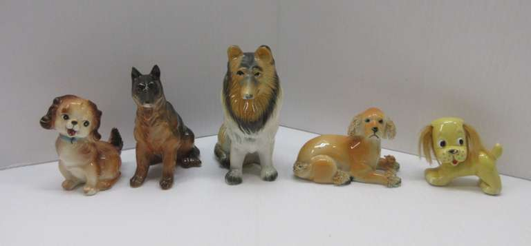 (5) Dog Mini Figures, Various Sizes and Conditions