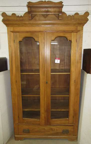 Antique Two-Door Cabinet with Three Adjustable Shelves, Appears to be Elm and Ash Wood