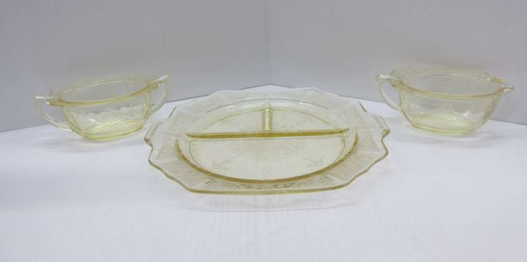 "Anchor Hocking 1931-1935 Topaz Yellow Princess Pattern, Include: 10 1/2"" Grill Plate, Sugar Dish, and Creamer"