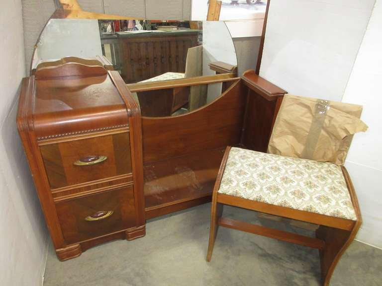 Antique Vanity with Mirror and Stool, Has Two Drawers, Glass Top, and Bench, Matches Lot Nos. 34, 35, and 6235