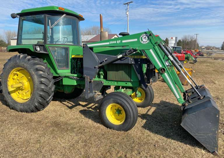 1974 John Deere 4230 Tractor, (8938 Hours), 100 hp, 2-Remotes, 18.4x34 Rears, Just Installed Bush Hog Loader, New Starter and Batteries, Nice Tractor