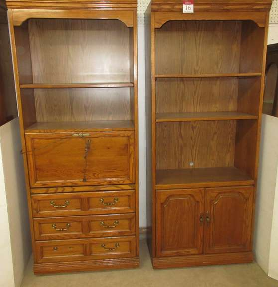 Tall Cabinet, and Bookshelf with Drawers, Has Drop-Front Desk