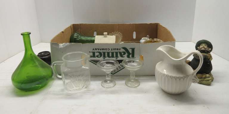 Older Glassware, Small Teapots, and Green Glass, Various Sizes