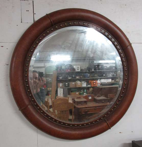 Round Leather Look Mirror, Composite Material