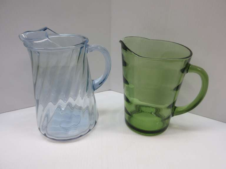 (2) Old Two-Quart Pitchers: Green, and Light Blue