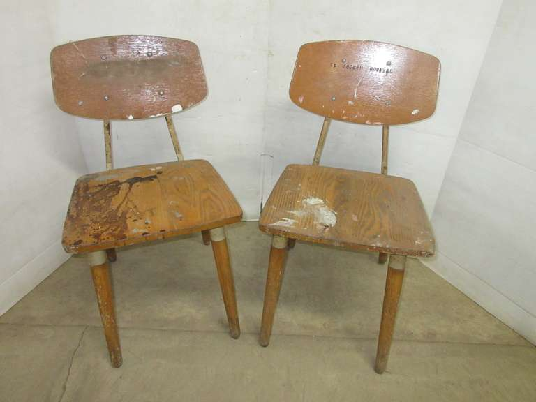 (2) Very Old St. Joseph Hospital Chairs