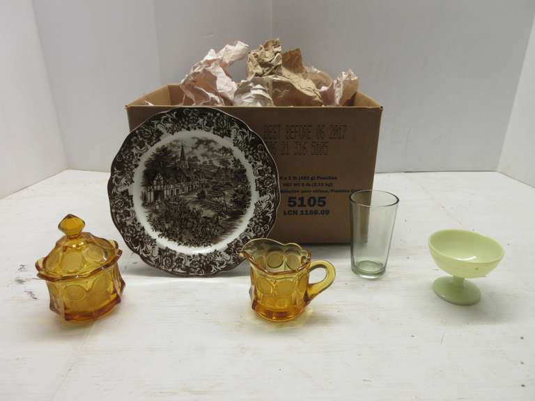 Amber Glass Sugar and Creamer Set, Fostoria Coin Glass, Various Sizes