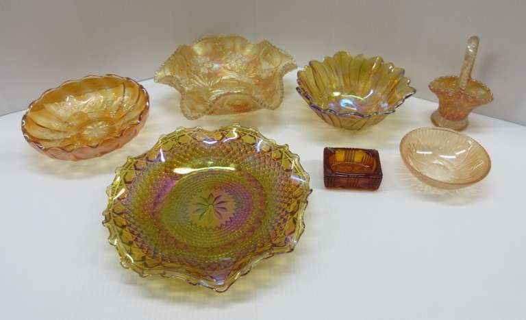 (7) Amber Pieces of Carnival Glass