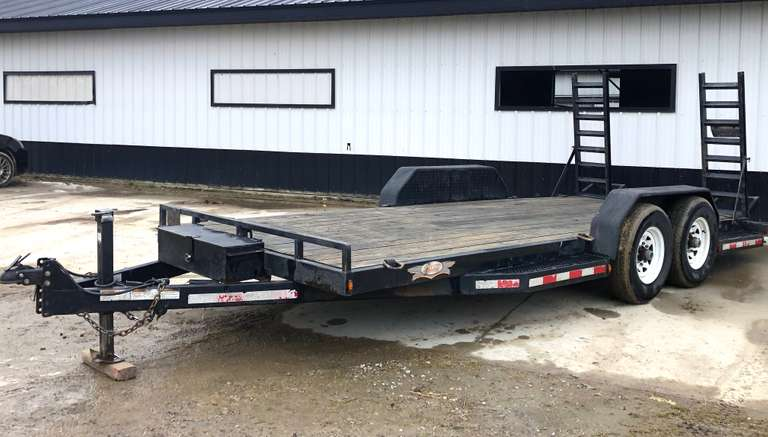 "2011 Affinity Low-Pro Trailer, 81""W x 18', 8-D-Rings, Tool Box, 8-Bolt Wheels, LED Lights, Electric Brakes, Road Ready, Clean and Clear Title"