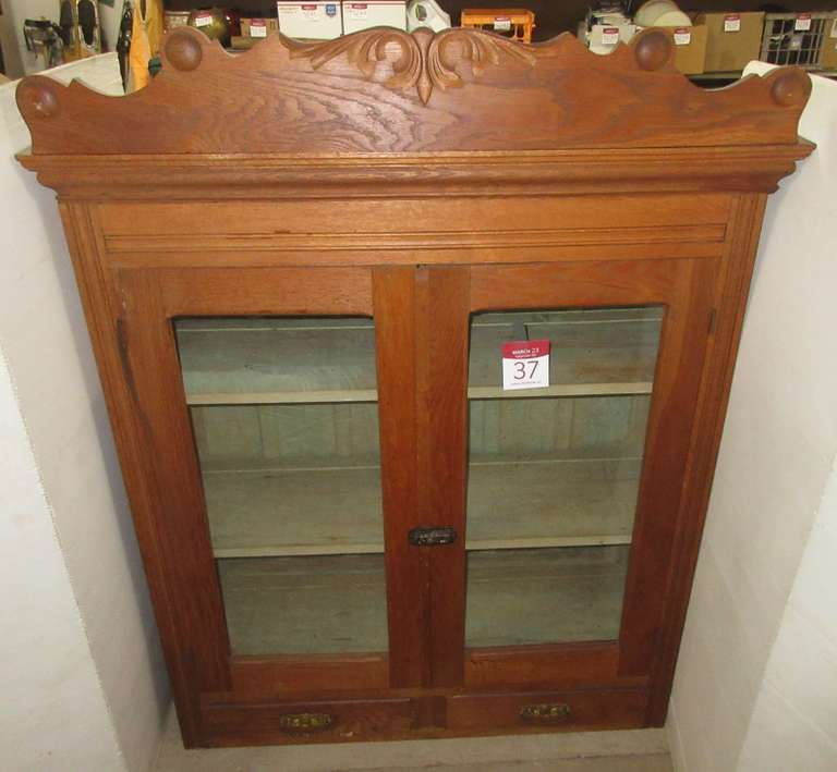 Antique Oak Hutch Top Cabinet