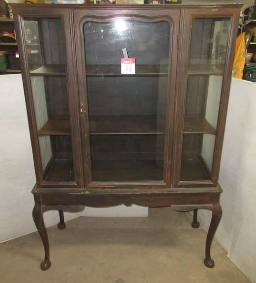 Old China Cabinet with Wood Shelves