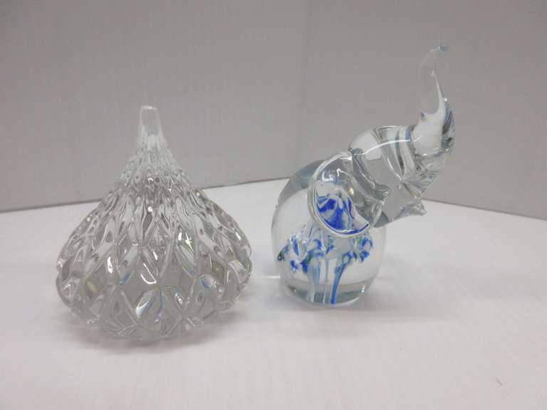 Jonal Crystal, Hershey Kiss, 24% Crystal, Made in Germany, Tag on Bottom; Controlled Bubble Elephant, Trumpet Flower