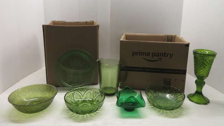 (20) Pieces of Assorted Green Glass, Various Sizes