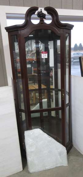 Lighted Dark Wood Corner Curio Cabinet with Four Glass Shelves