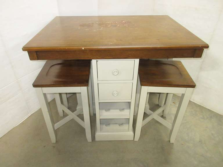 Composite Wood Table and (4) Stools