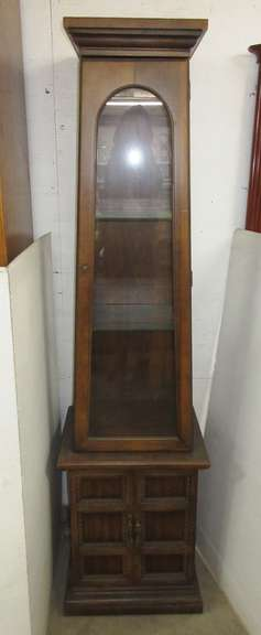 Older Wooden Curio Cabinet, Lighted