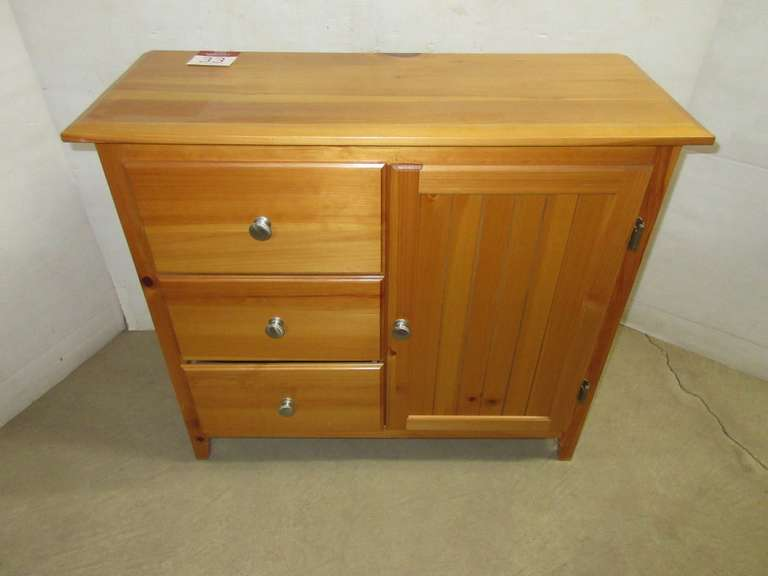 Pine Three-Drawer Storage Cabinet with Side Door