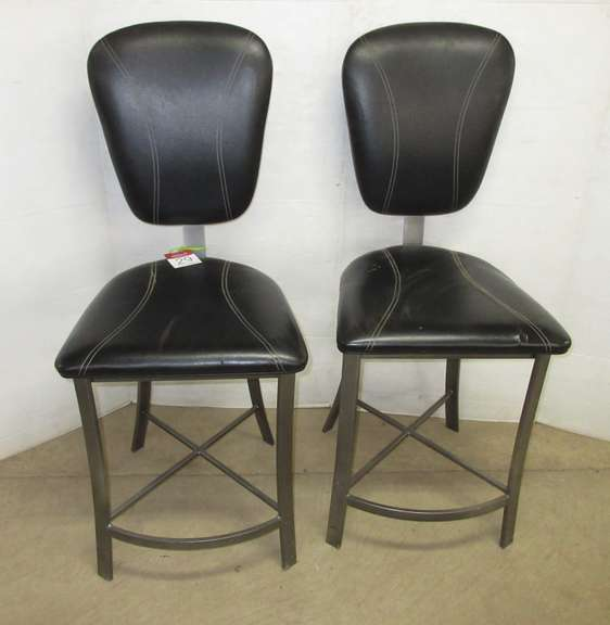 Set of (2) Metal/Black Leather Padded Pub Height Bar/Snack Bar Stools