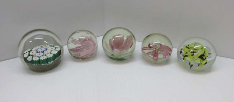 (5) Glass Paperweights, Include: 1- Murano Millefiori, Italian Glass; 1- Controlled Bubble Brown/Yellow Flower; 1- Controlled Bubble, Pink Flower; 1- Art Glass, Pink Flower; 1- Controlled Bubble, Pink Flower