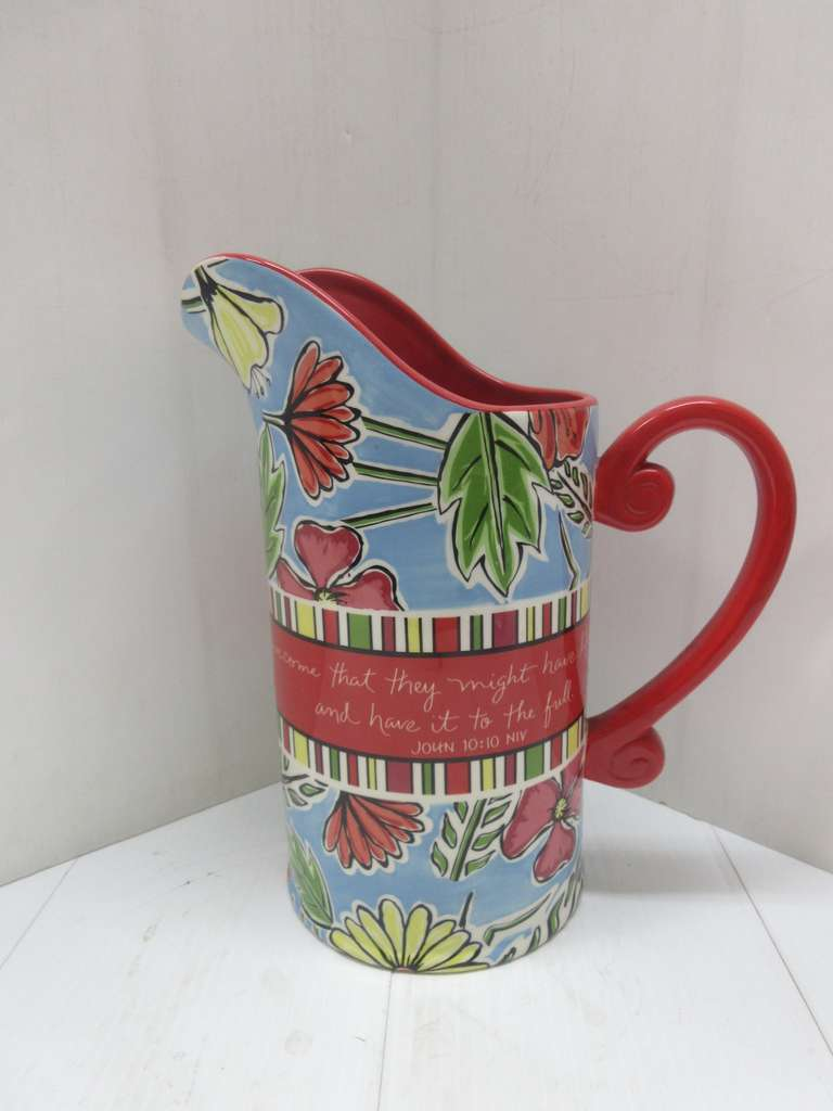 Large Red Pitcher with John 10:10 NIV Verse on Side, 2009 Daisy Spring Collection, Dishwasher and Microwave Safe