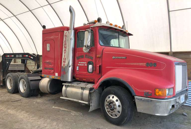 1993 International 9400 Eagle Semi Tractor, (600,000 Miles on Rebuild), 3406 B Cat, 10-Speed Transmission, 11R/22.5 Tires, Rear at 95% Tread, Front at 75% Tread, Right Side Roll Over Damage, Cab with Sleeper, Hood in Good Condition, 34k lbs. Rear Air Ride, 12k lbs. Front, Clean and Clear Title, Wet Kit NOT Included