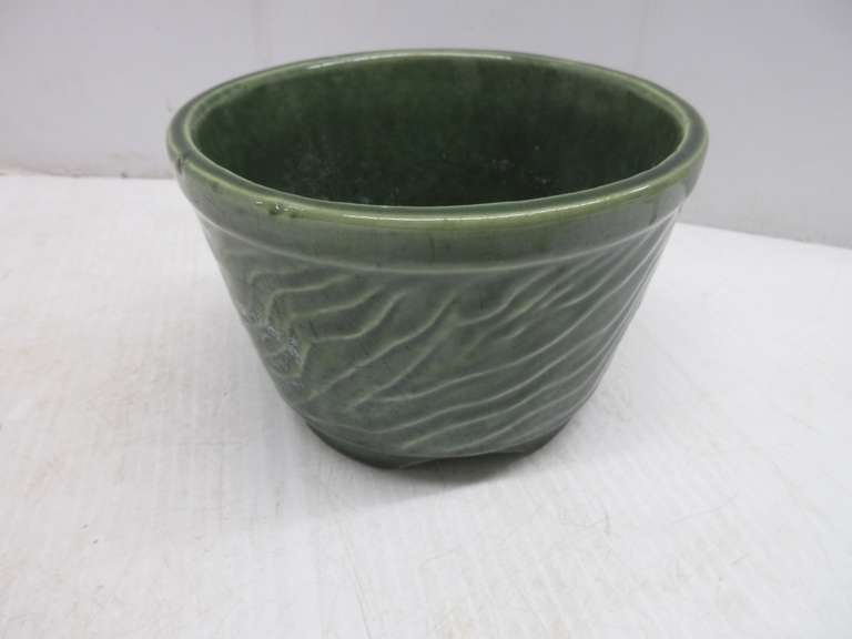 Green Pottery Bowl/Planter, Marked on Bottom, Possibly Hull