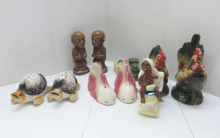 (6) Pairs of Older Salt and Pepper Shakers: Black Americana, Baby on Toilet, Turkey, Fish, Turtle, and Train