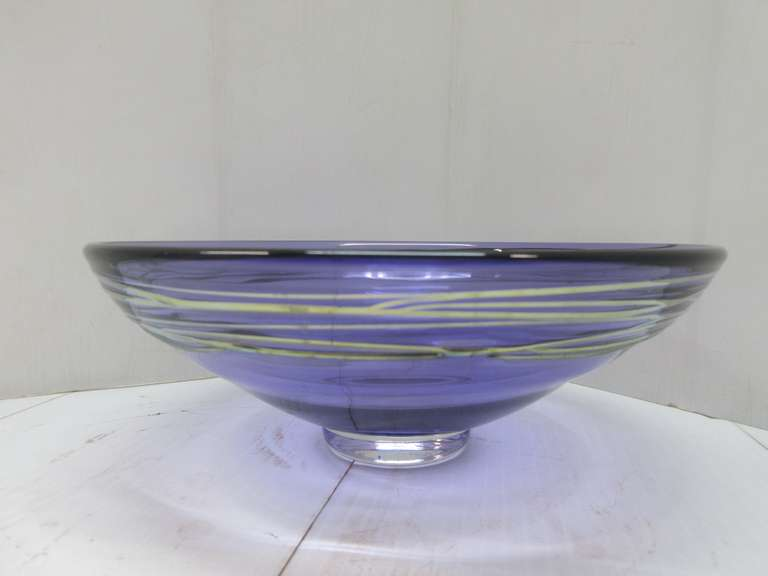 Older Art Glass Bowl, Signed by on Bottom, Peet Robinson and Dated 2003