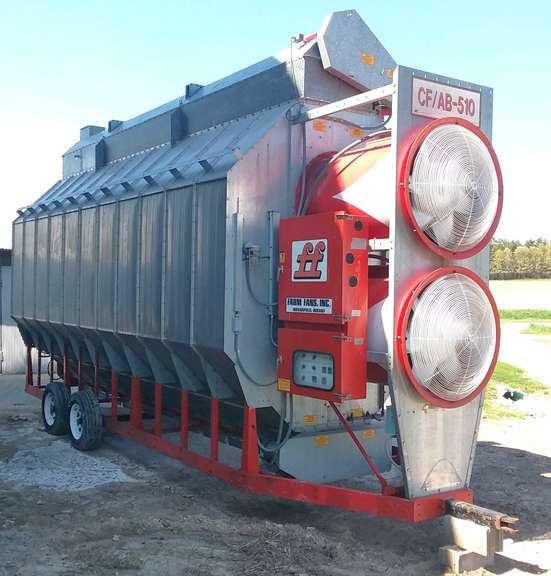1996 Farm Fan Dryer, (4565 Hours), CF/AB-510, Setup 3-Phase, Continuous Flow or Batch Dryer, 510 bushel Capacity with 60 bushel Pre-Heater, One Owner, Great Condition