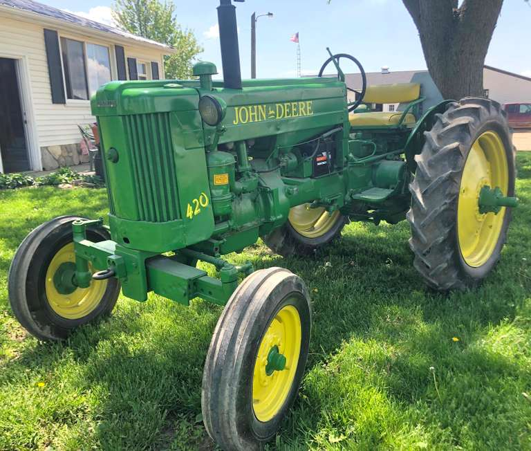 John Deere 420T Tractor, Complete, 3-Point, Top Link, PTO, Excellent Tires Front and Rear, Runs Well, Lights Work, New Battery, Parade Ready or Field Ready