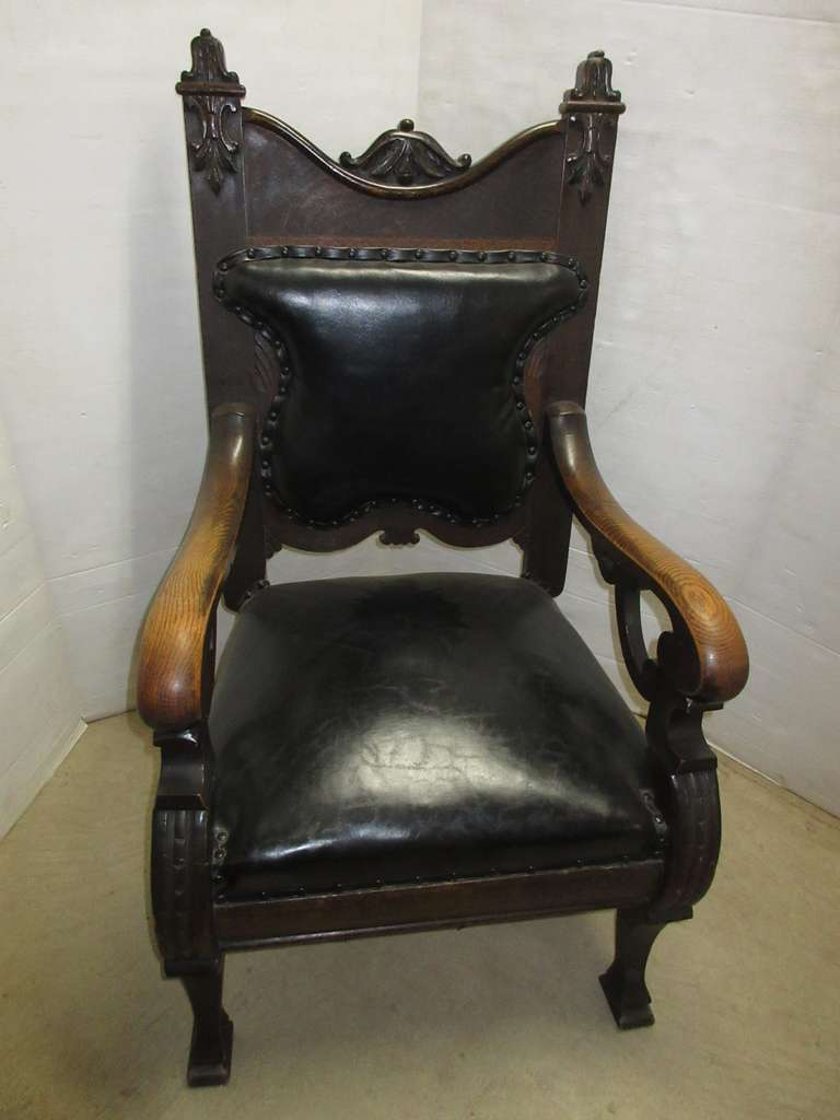 Antique Oak Chair with Leather Back and Seat, Matches Lot No. 34