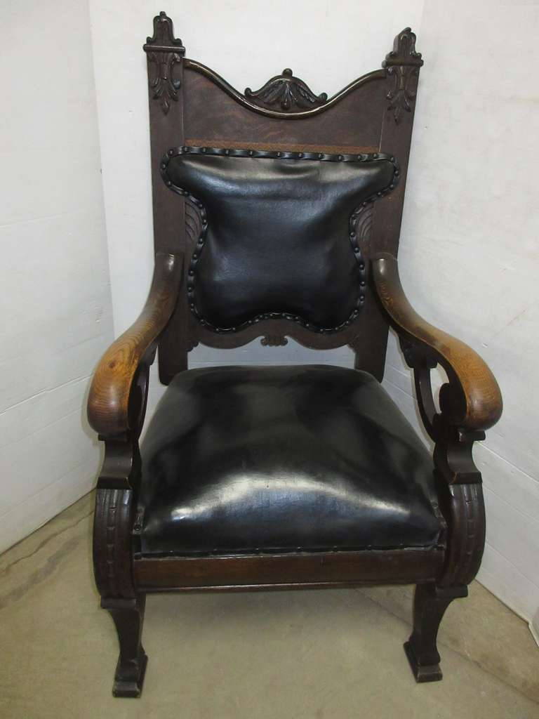Antique Chair with Leather Back and Seat, Matches Lot No. 33