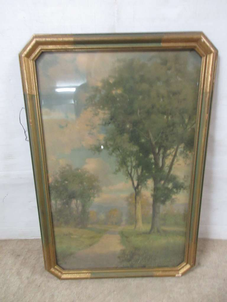 "Framed Art Print, Eight-Sided Plaster Over Wood Frame, Most of Original Tag on Back, Reads ""Prang Art Company, Frame No. 5378, New England Hills, Artist Fox"""